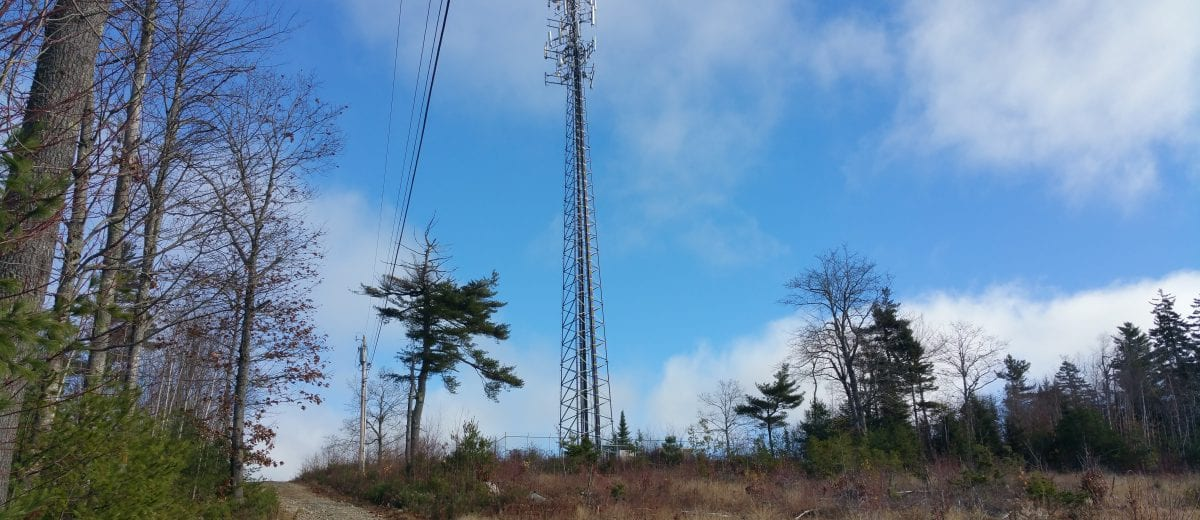 communications tower on a hill