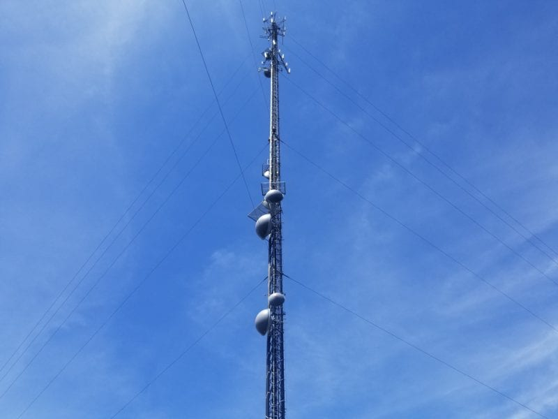photo of the top of a communications tower