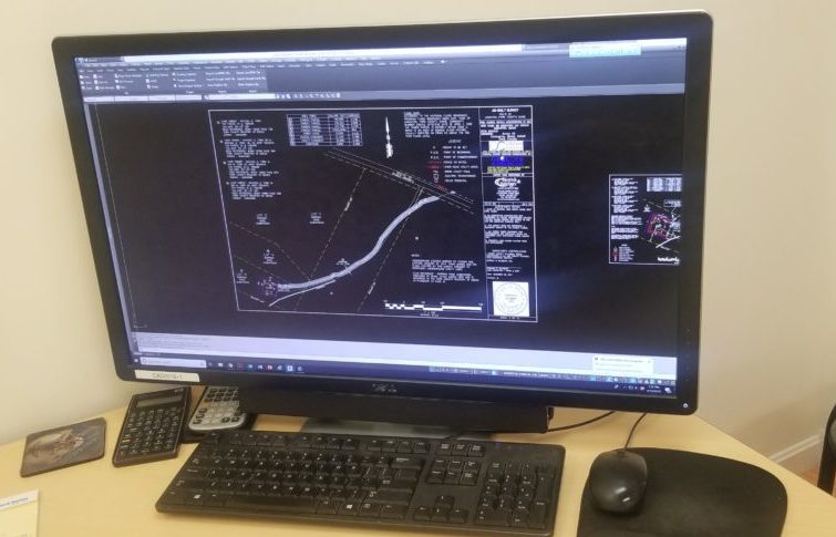 photo of computer with surveying software