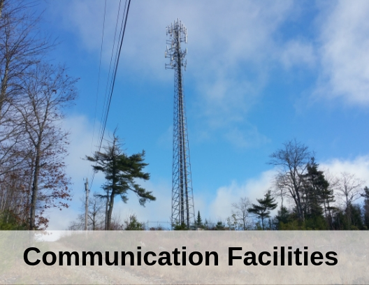 photo of communication towers with the words communication facilities