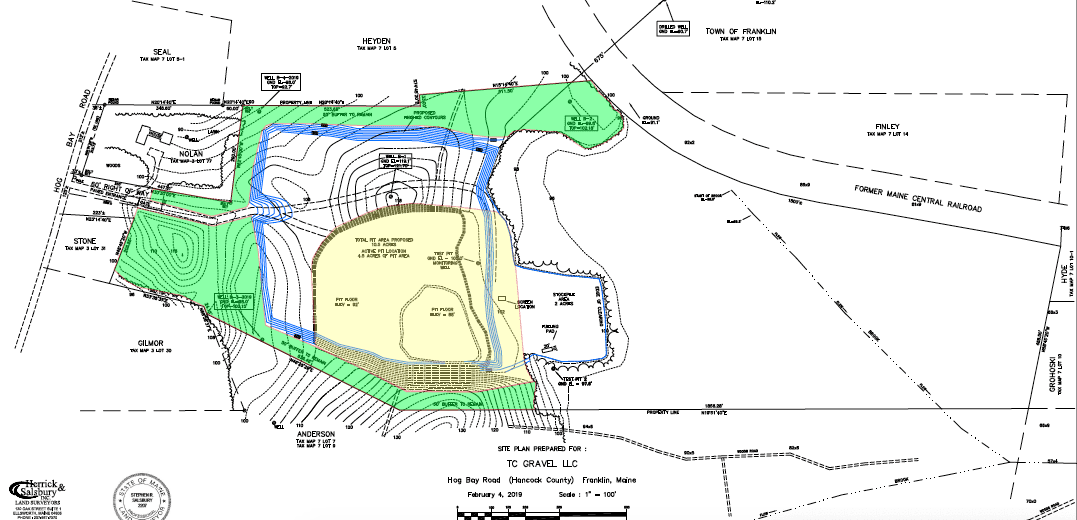 topographical map of gravel pit