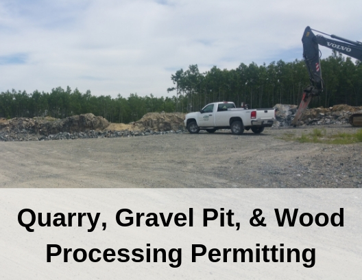 photo of gravel pit with words Rock Quarry, Gravel Pit, and Wood Processing Permitting