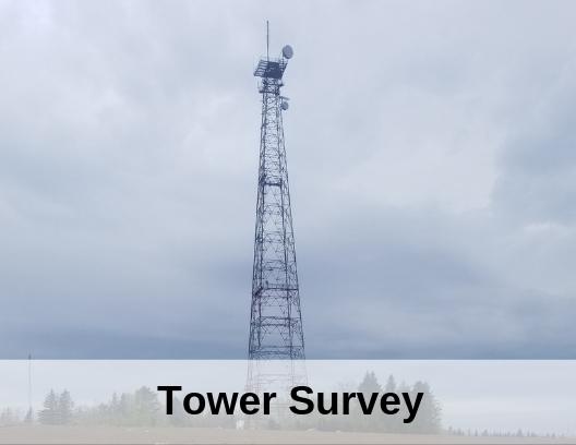photo of radio tower with the words tower survey